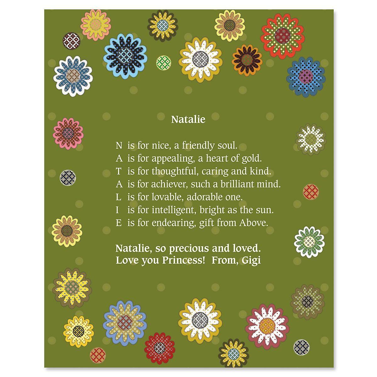 Daisy Flower Name Poem Print