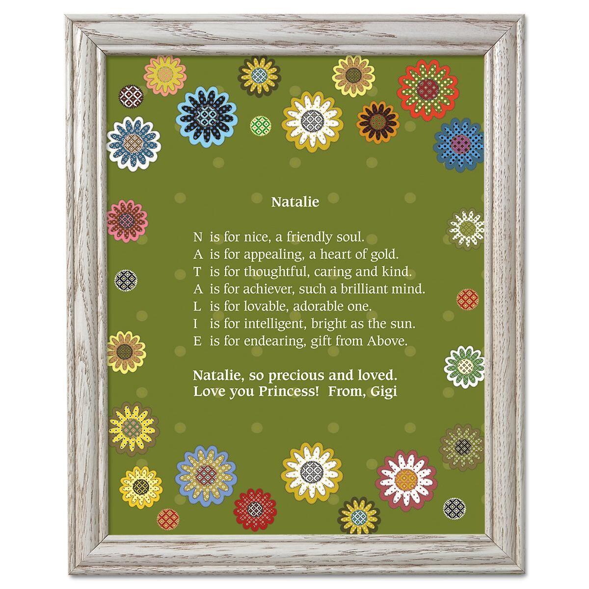 Daisy Flower Name Poem Framed Print
