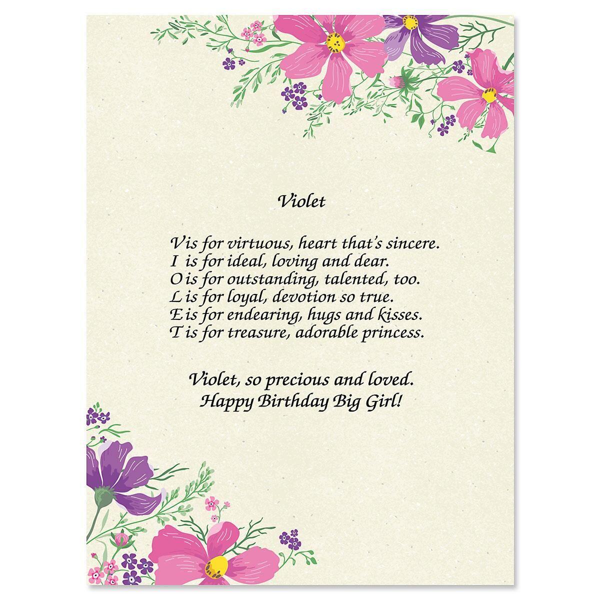 Violet name poem print colorful images violet name poem print izmirmasajfo