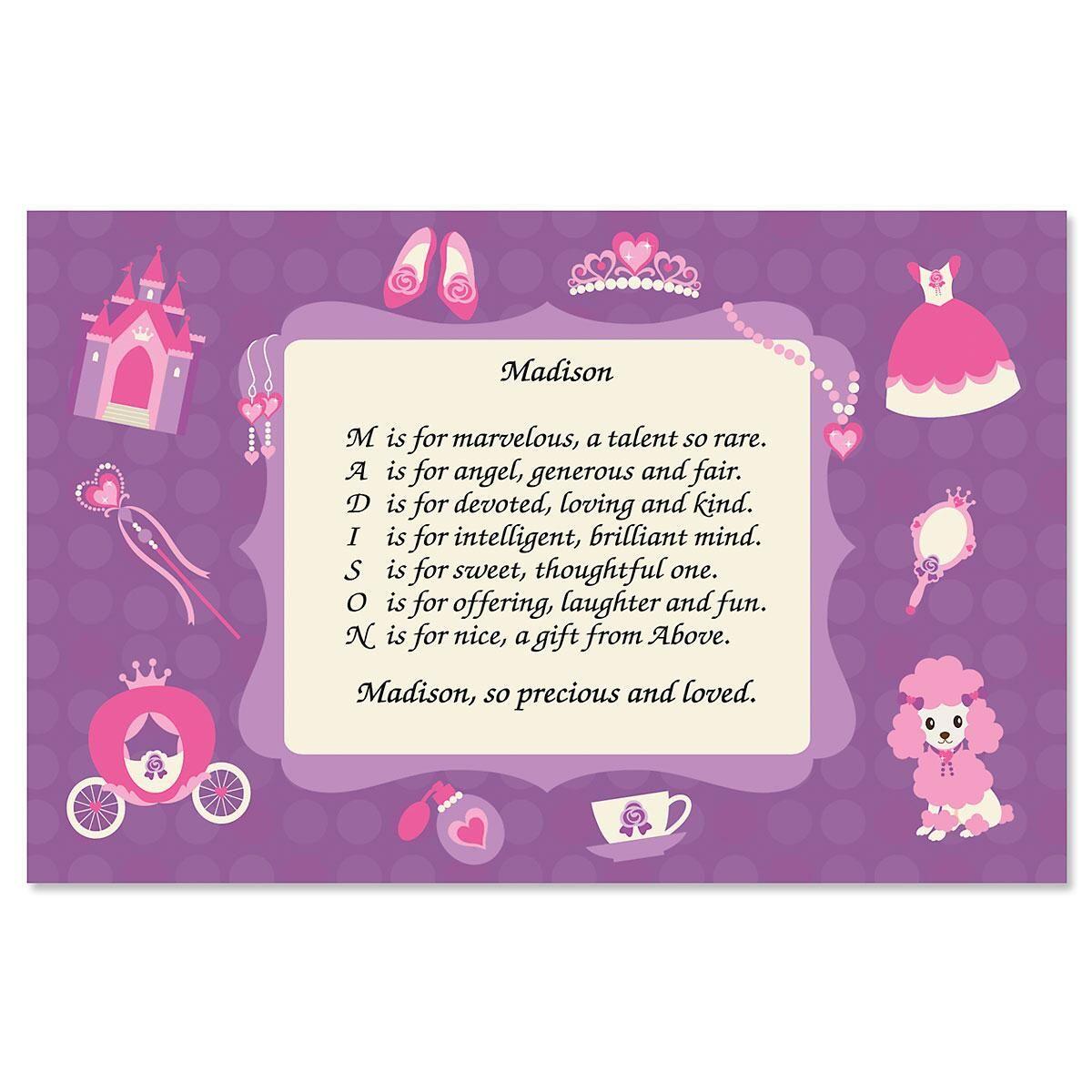 Princess Name Poem Placemat