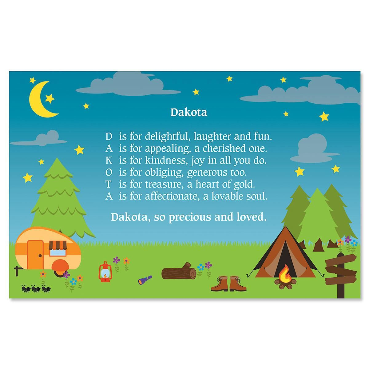 Camping Name Poem Placemat