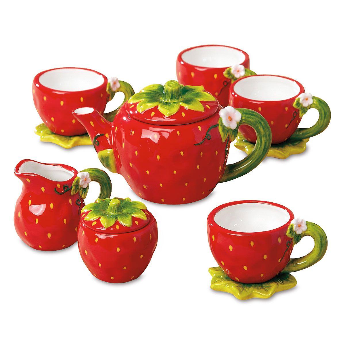 Strawberry Tea Set Colorful Images