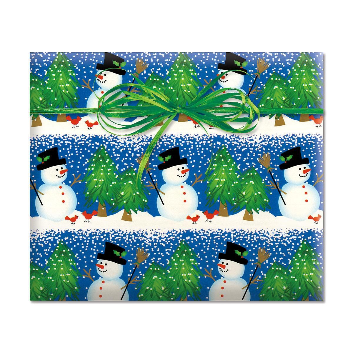 Snowman Blizzard Rolled Gift Wrap