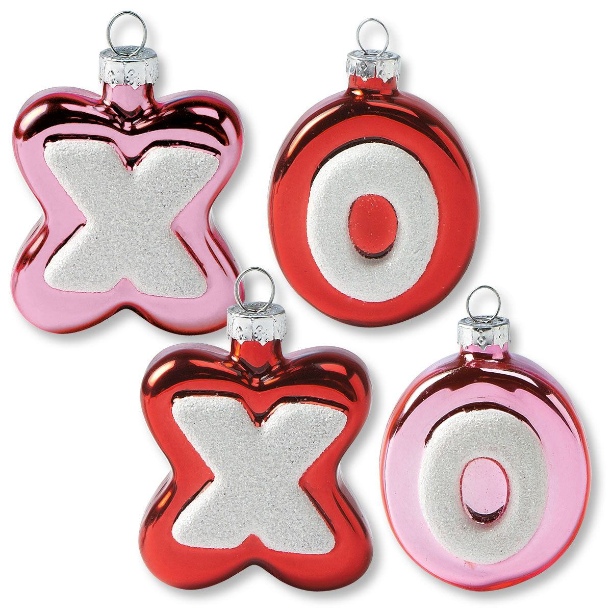 Glass XO Valentines Ornaments