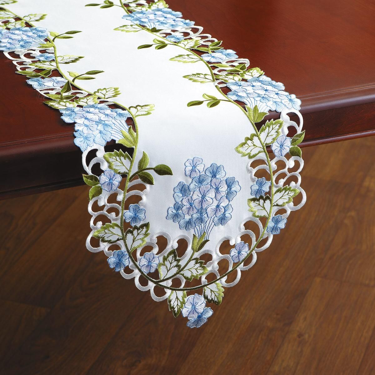 Hydrangea Cutwork Table Runner