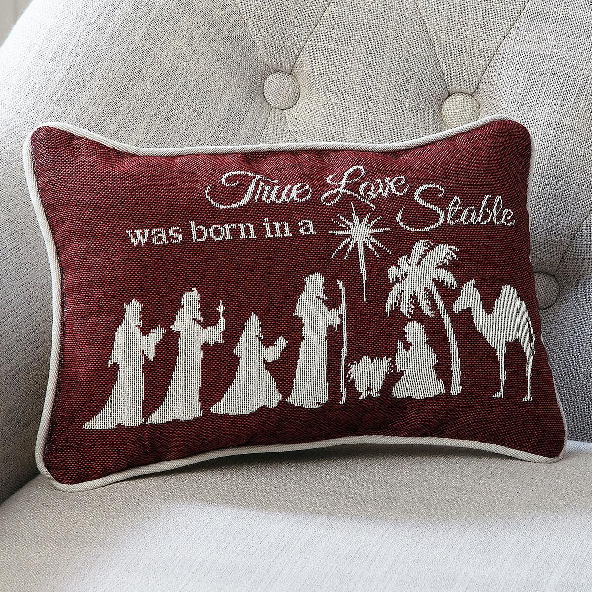Love Was Born Word Pillow