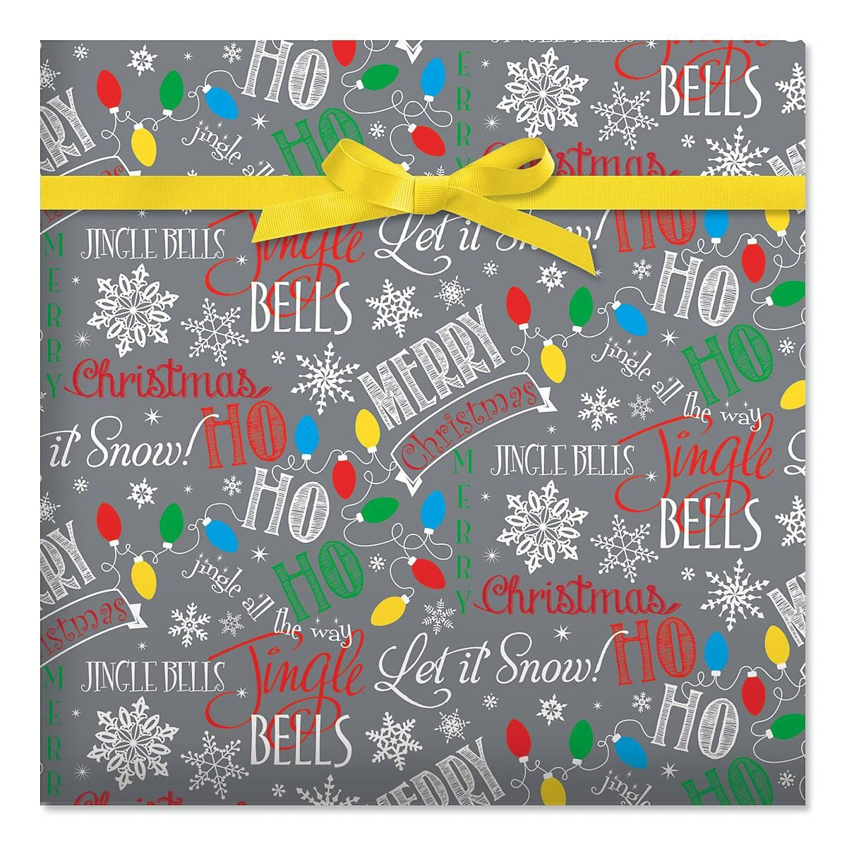 Let It Snow Silver Holiday Jumbo Rolled Gift Wrap