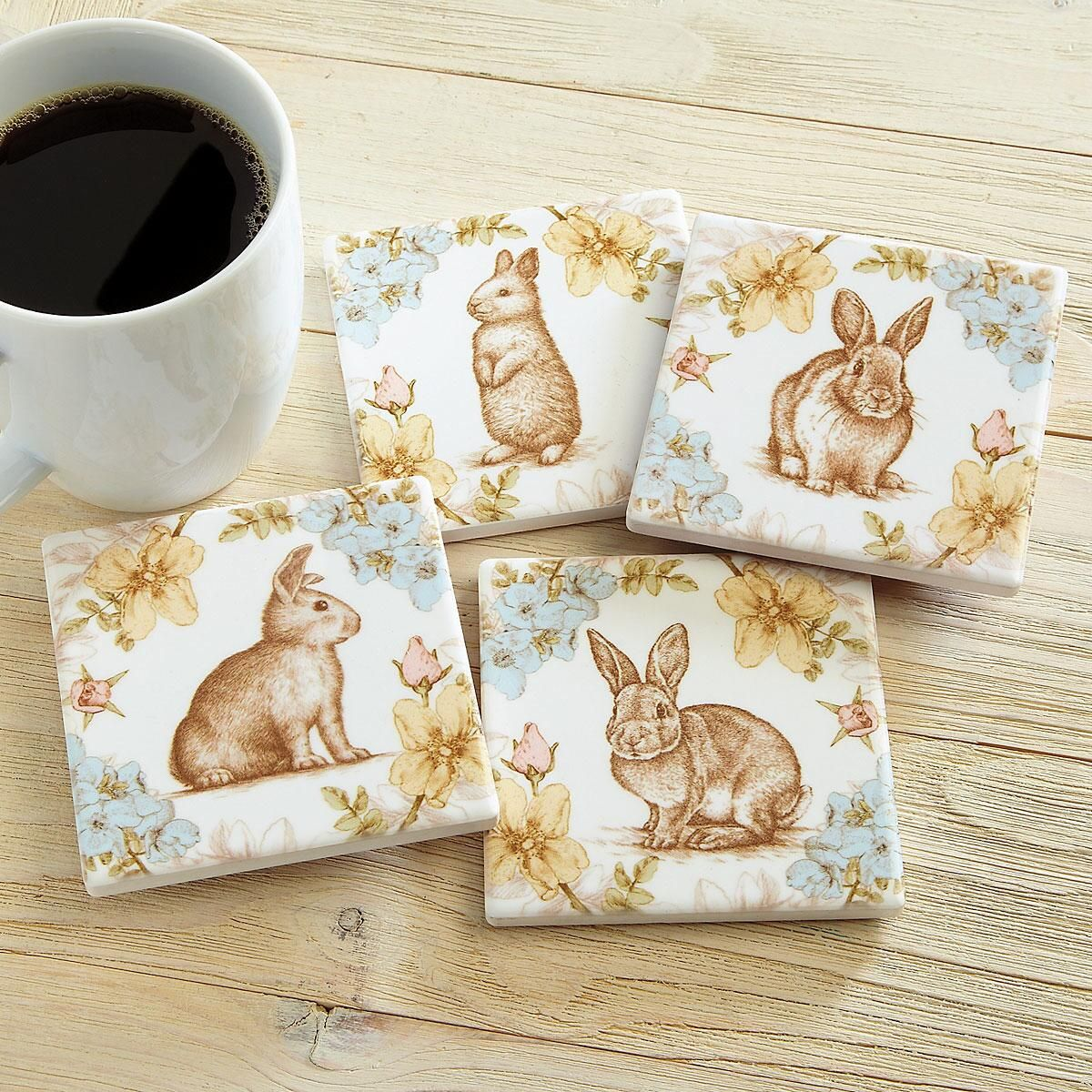 Rabbits & Flowers Coasters