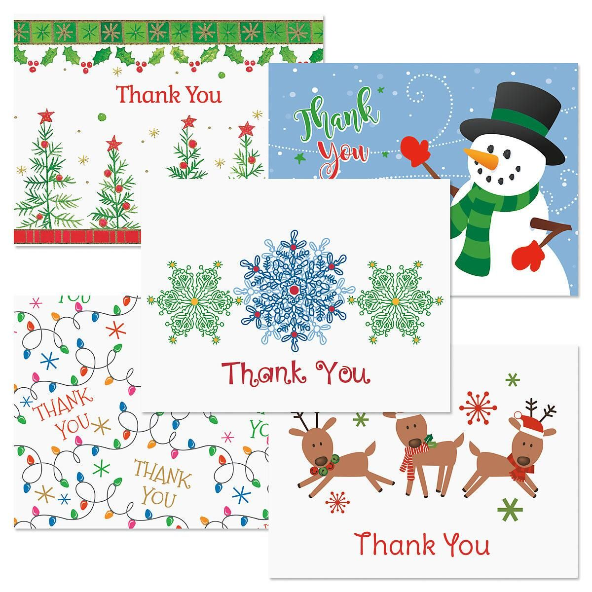 Christmas Season Thank You Note Cards | Colorful Images