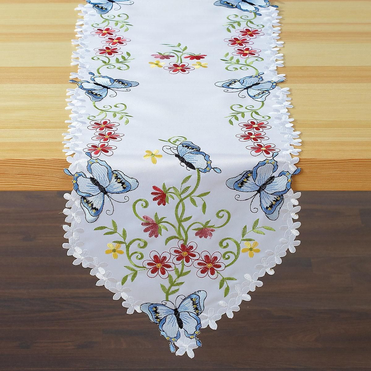 Butterfly and Flowers Table Runner