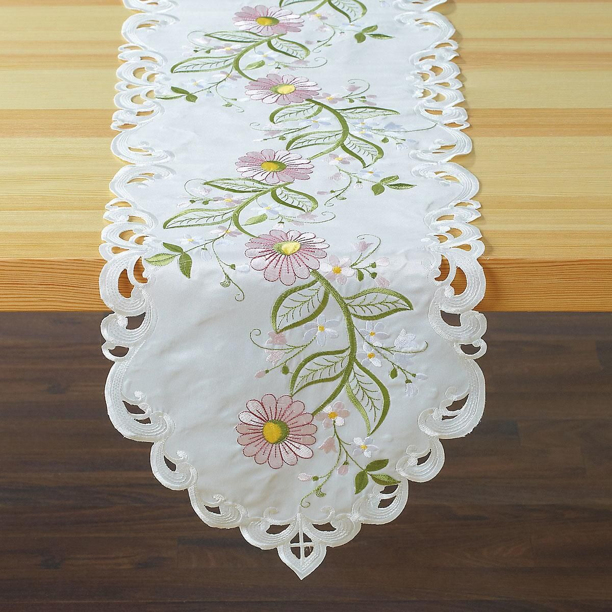 Row of Pink Daisies Cutwork Table Runner