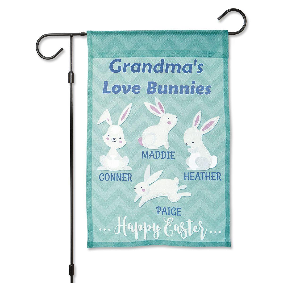 Easter Love Bunnies Custom Garden Flag