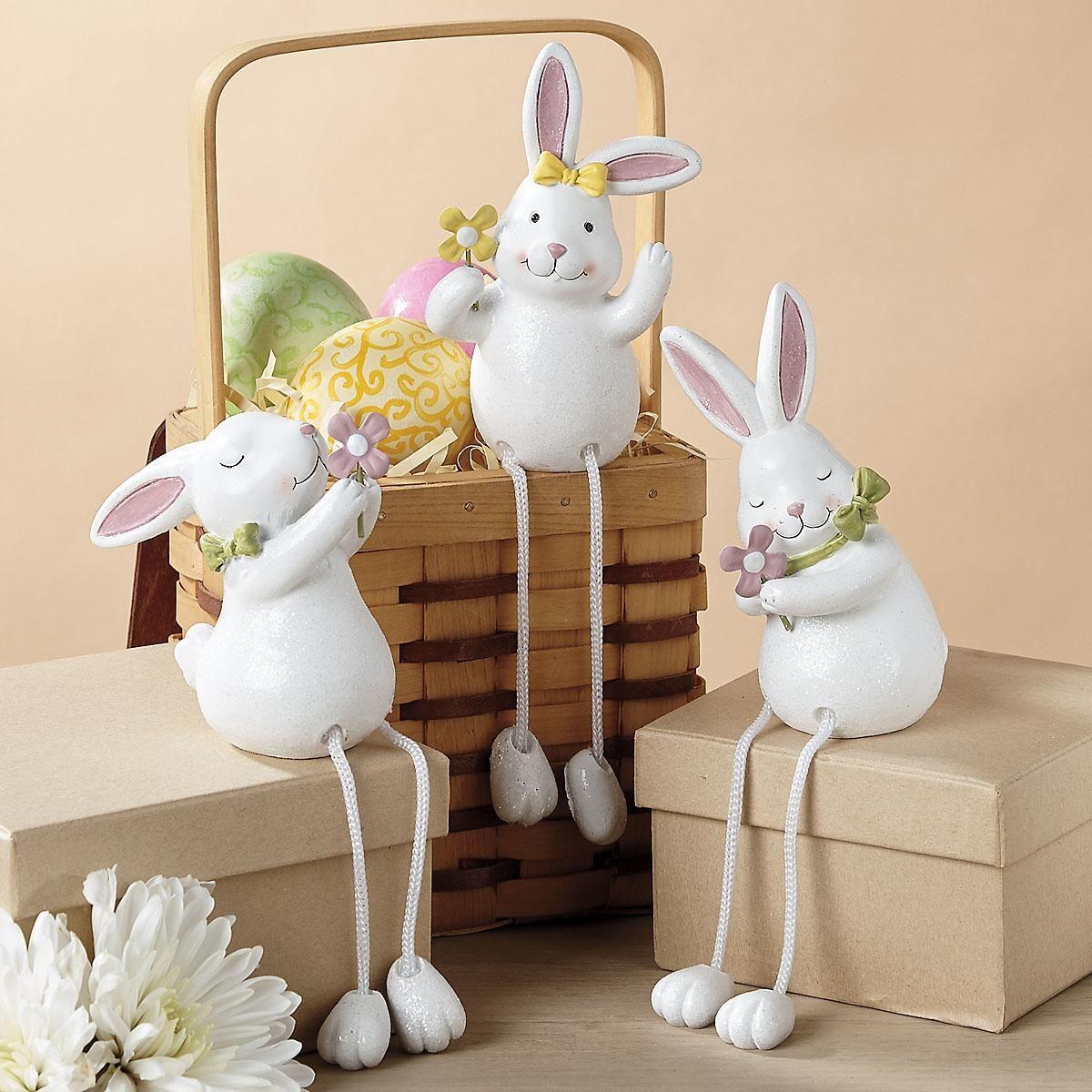 Shelf Sitter Bunnies with Dangling Legs