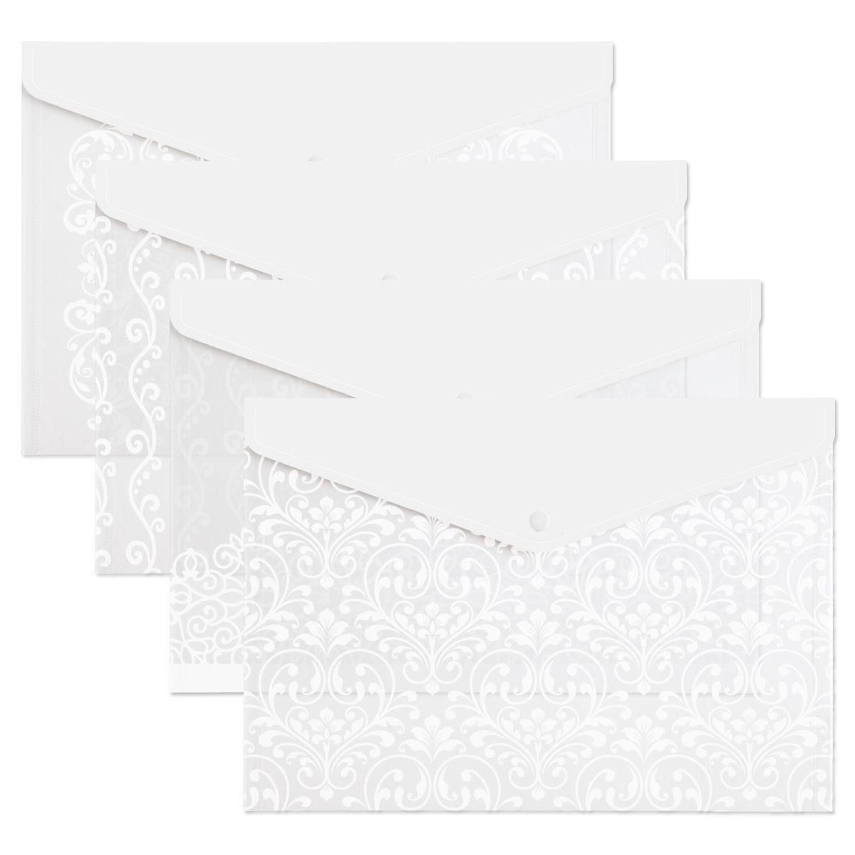 White Scroll Pattern Snap Folders
