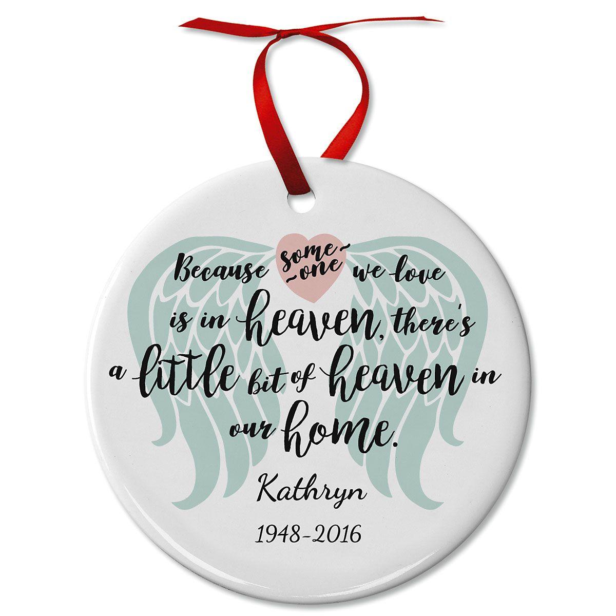 Personalized Bit of Heaven Memorial Ceramic Ornament