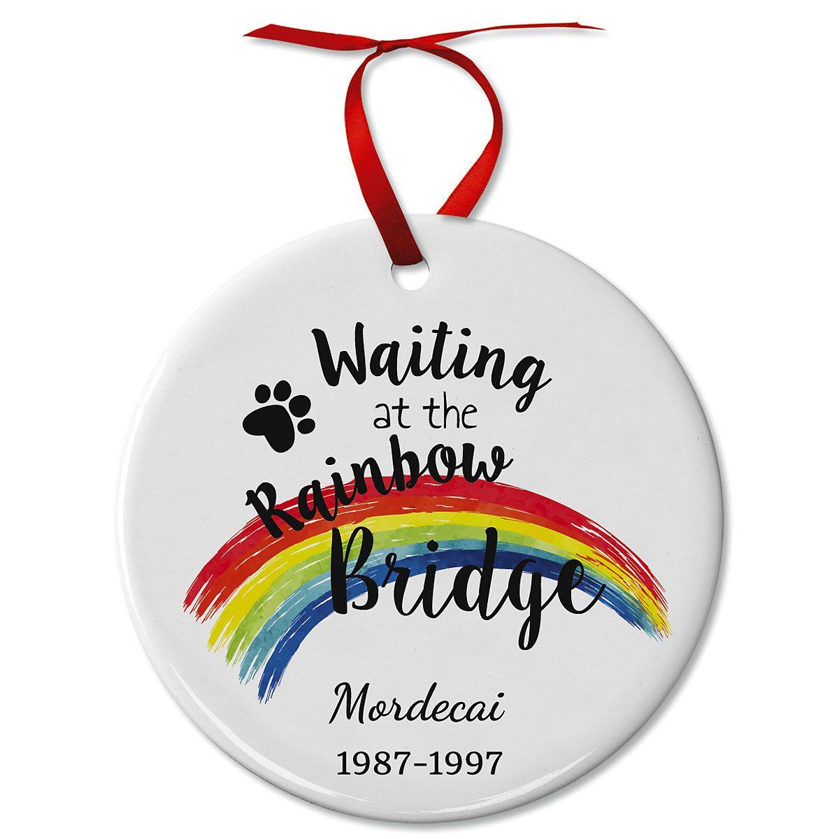 Pawprints Pet Remembrance Ceramic Personalized Christmas Ornament