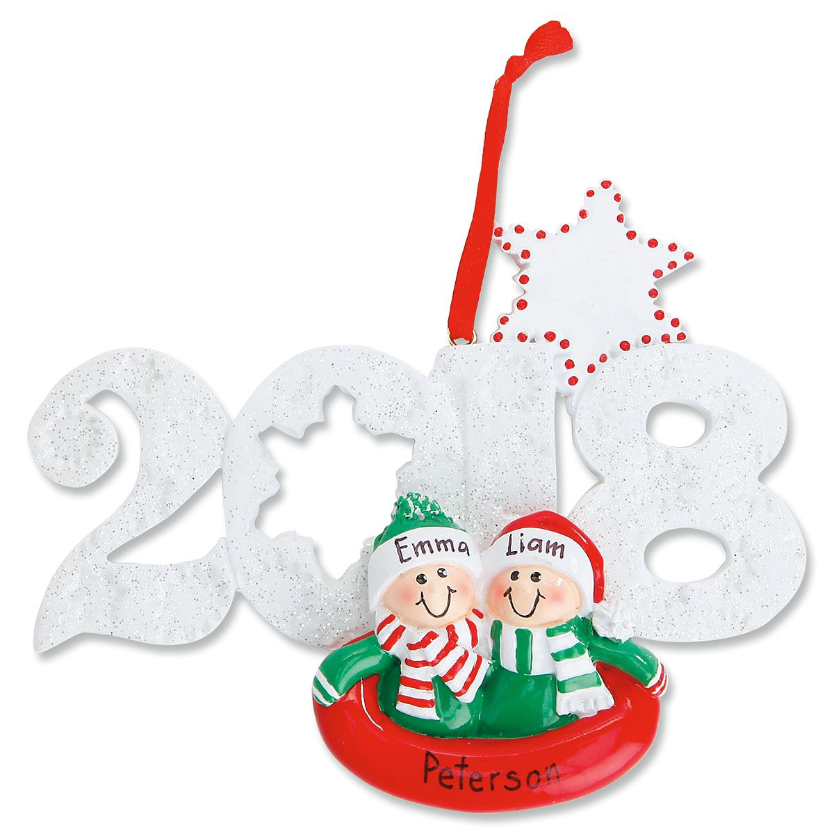 2018 Sledding Personalized Christmas Ornament | Colorful Images