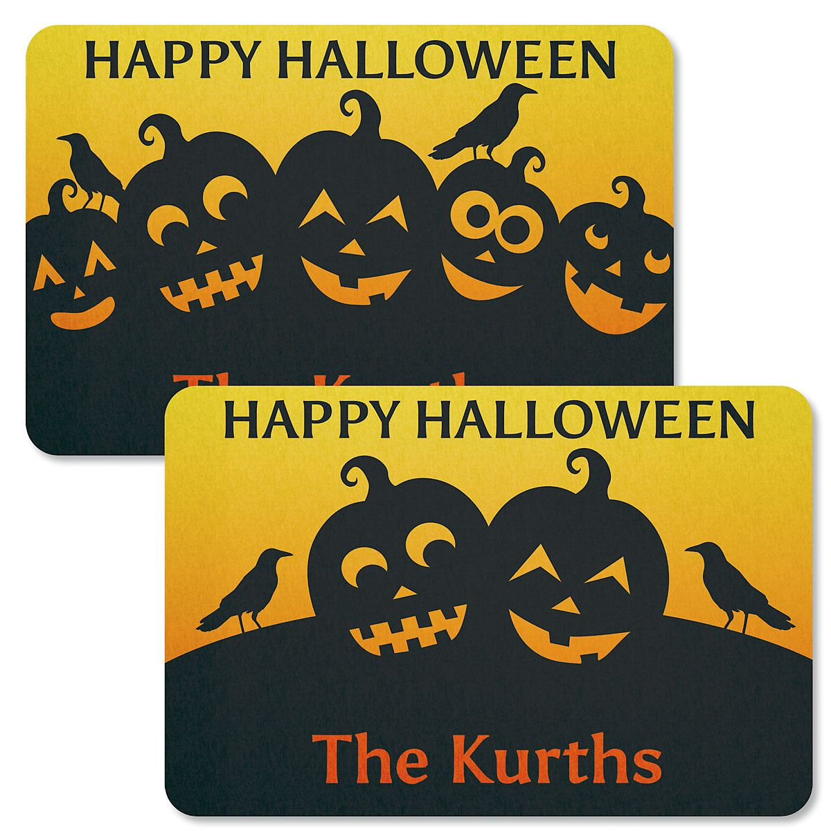 jack-o-lantern personalized halloween doormats | colorful images