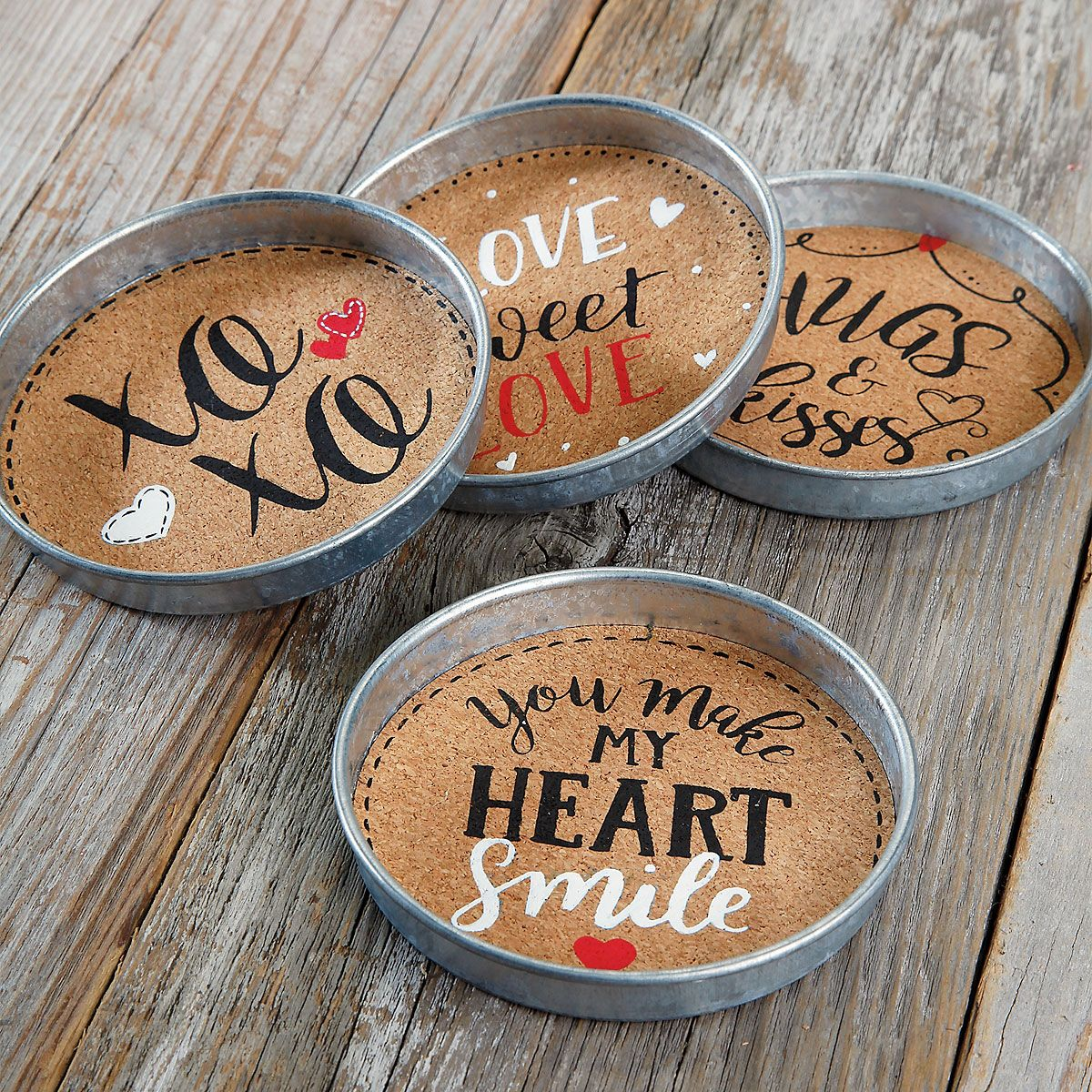 Set of 4 Valentine's Cork Coasters