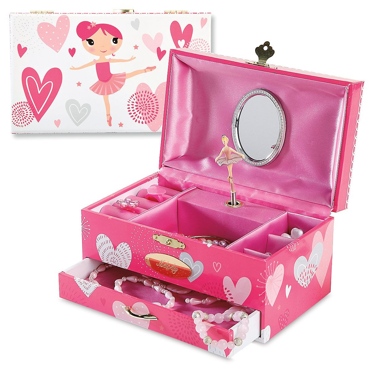 Personalized Ballerina Hearts Music Box