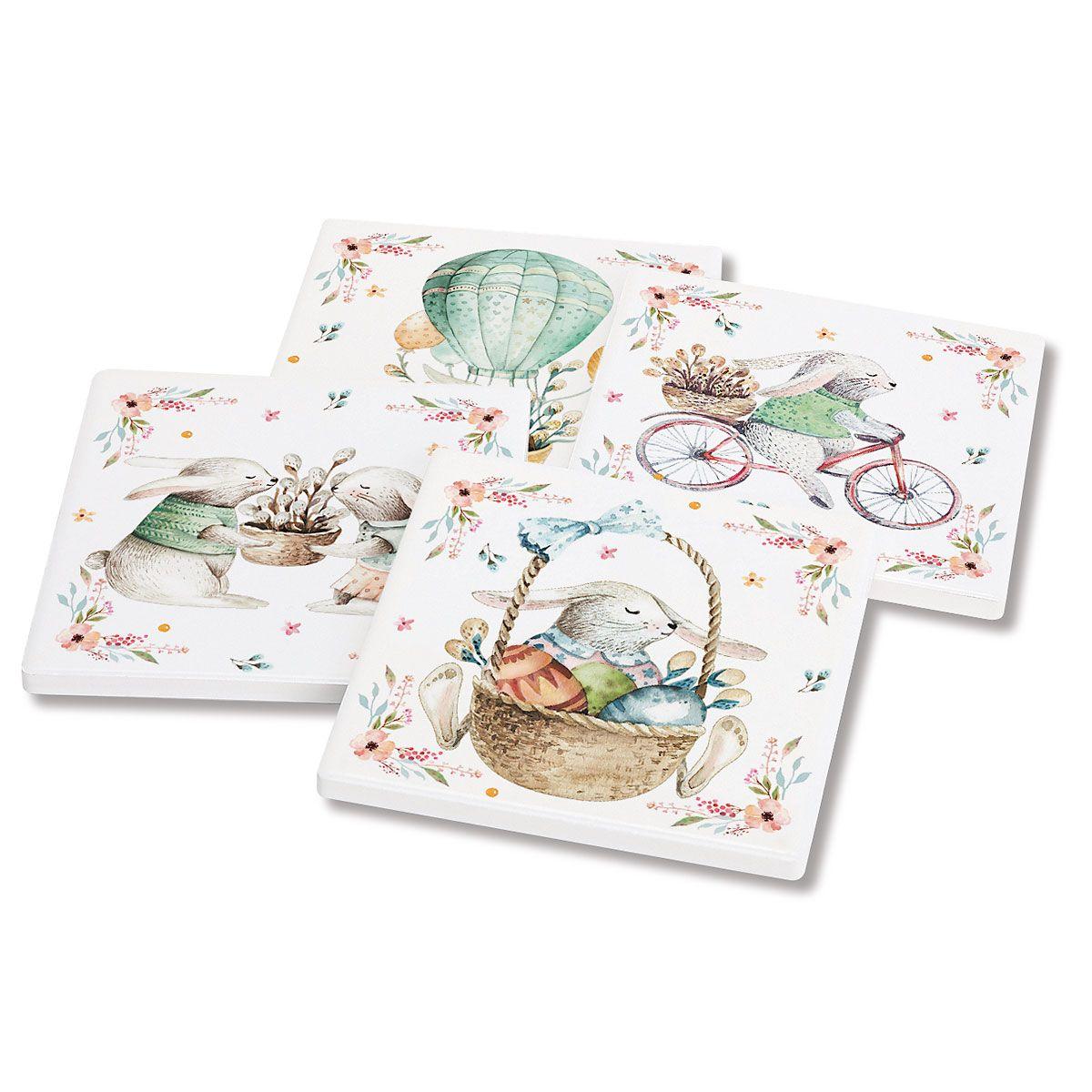 Set of 4 Bunny Blossom Coasters