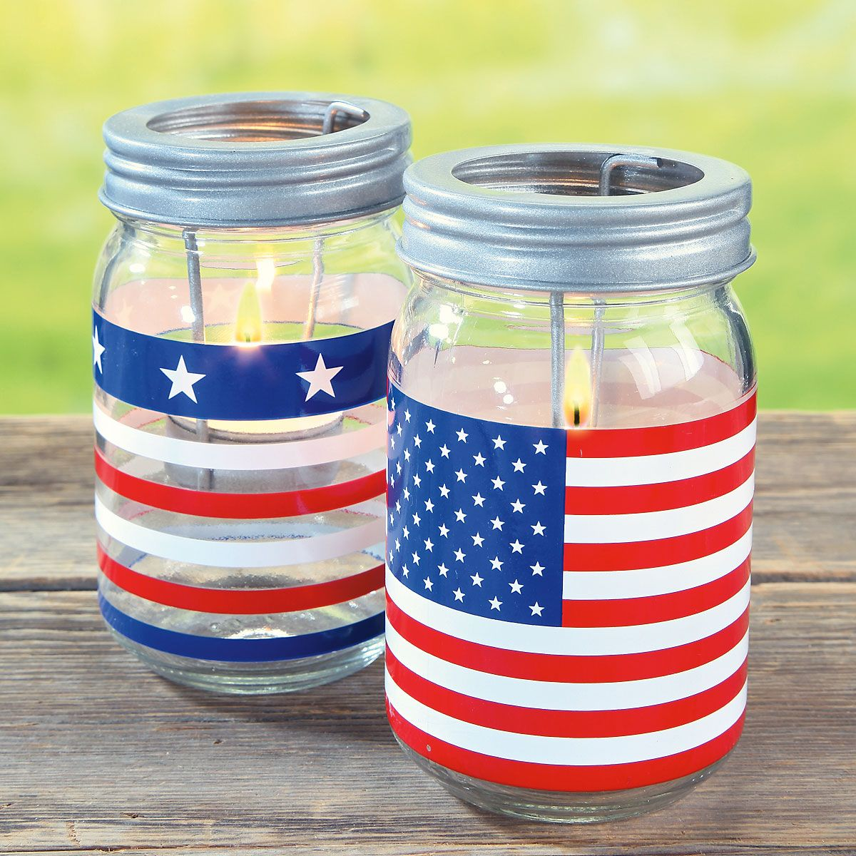 Patriotic Jar Candle Holders