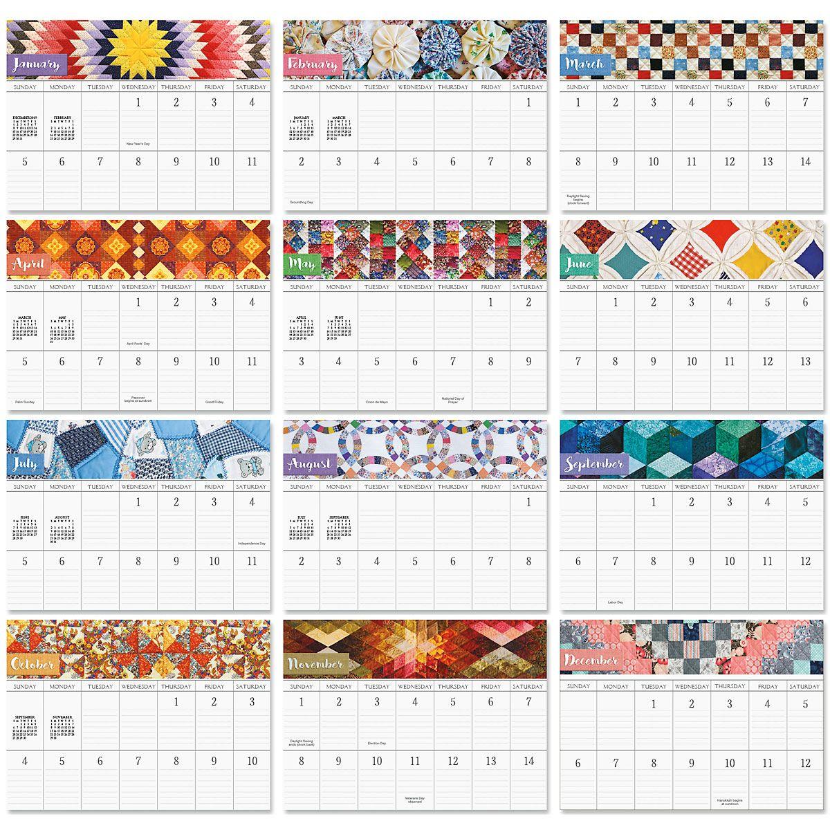 2020 Patchwork Memories Big Grid Planning Calendar with Pockets