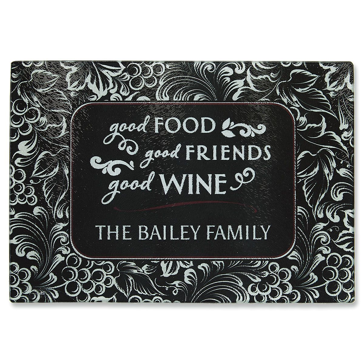 Custom Good Food, Wine, and Friends Tempered Glass Cutting Board