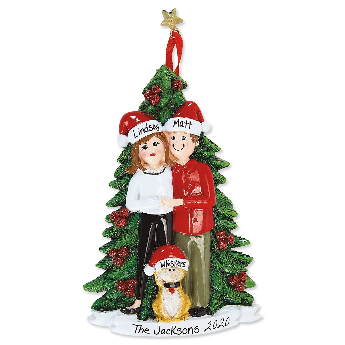 Christmas Couple with Cat Personalized Ornament