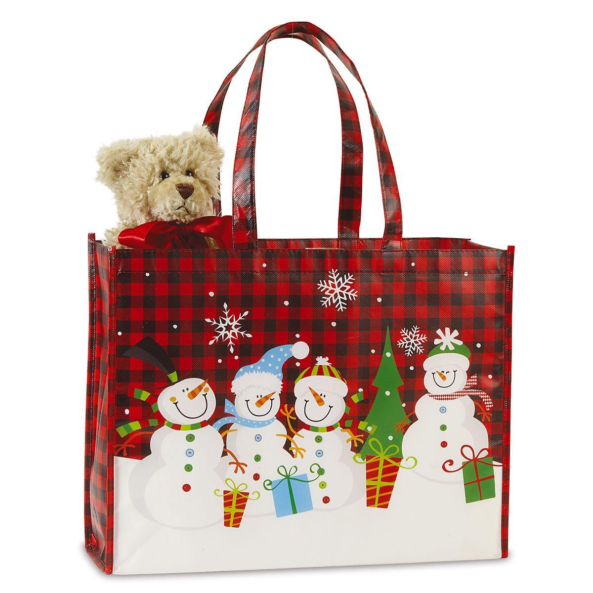 Snowman Plaid Shopping Tote - Buy 1 Get 1 Free