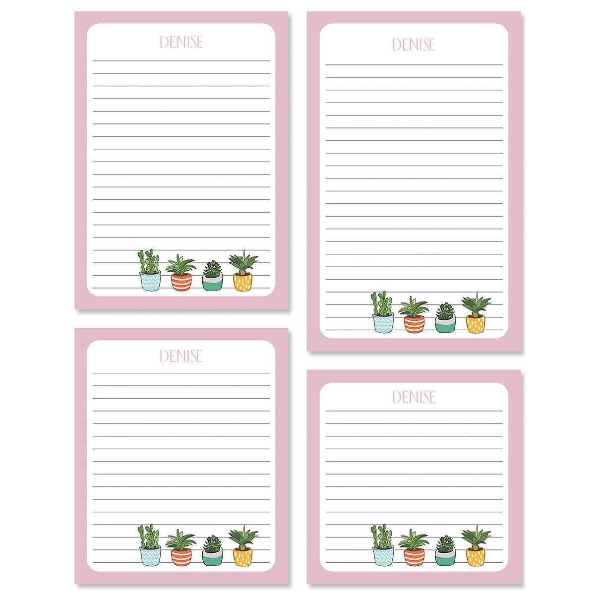 Pink Border Succulents Custom Memo Pad Sets