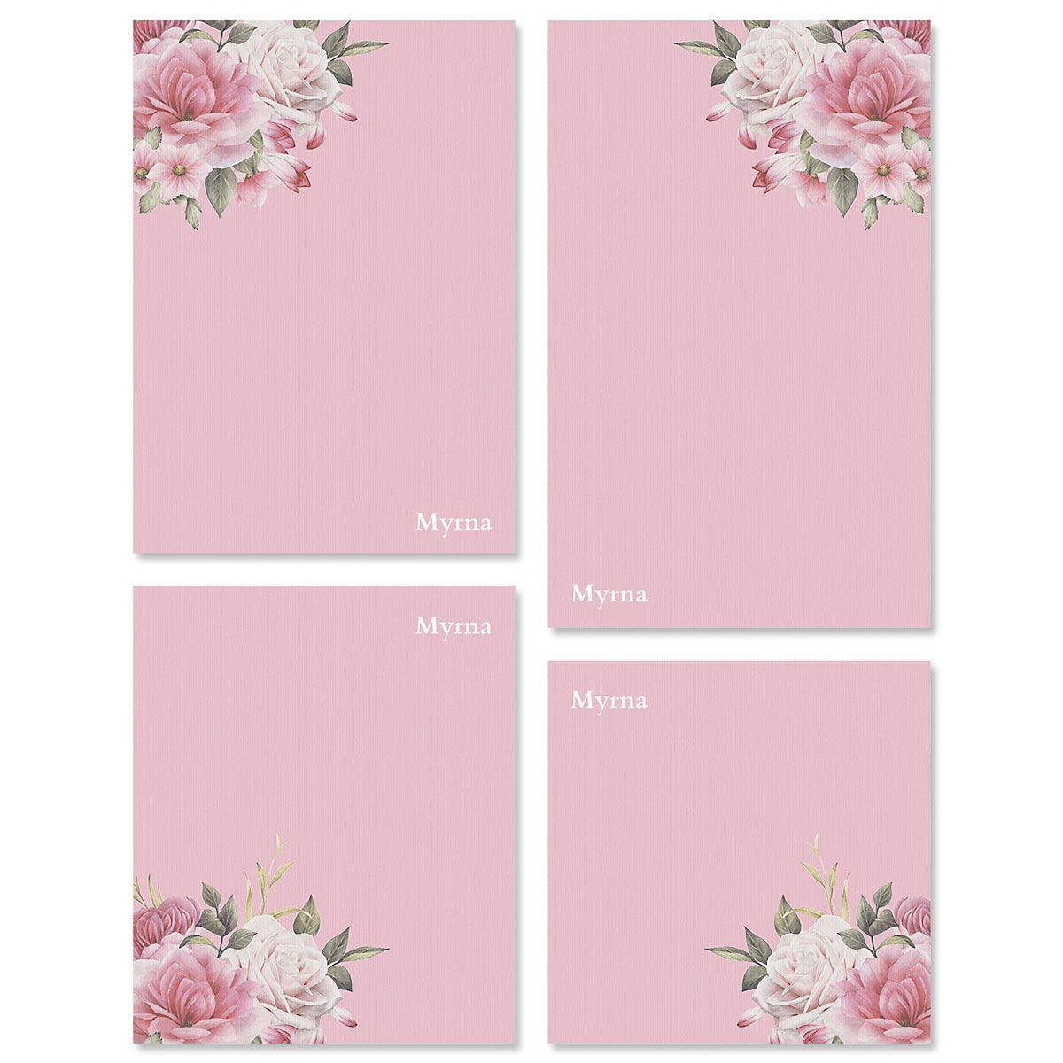 Corner Roses Custom Memo Pad Sets