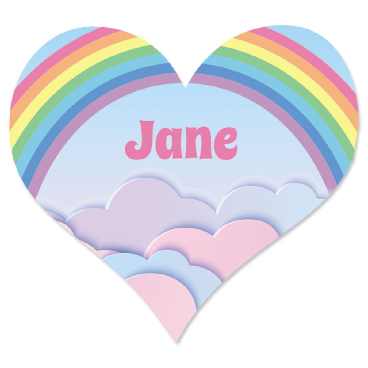 Custom Rainbow Heart Stickers