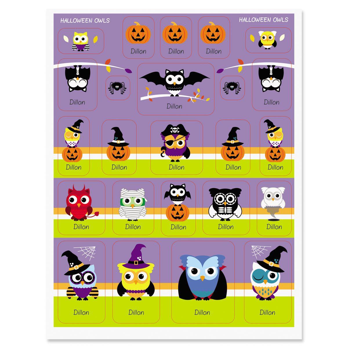 Custom Halloween Owls Stickers