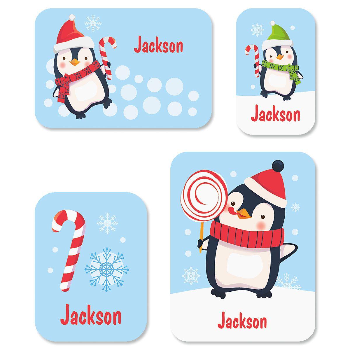 Custom Christmas Penguins Stickers
