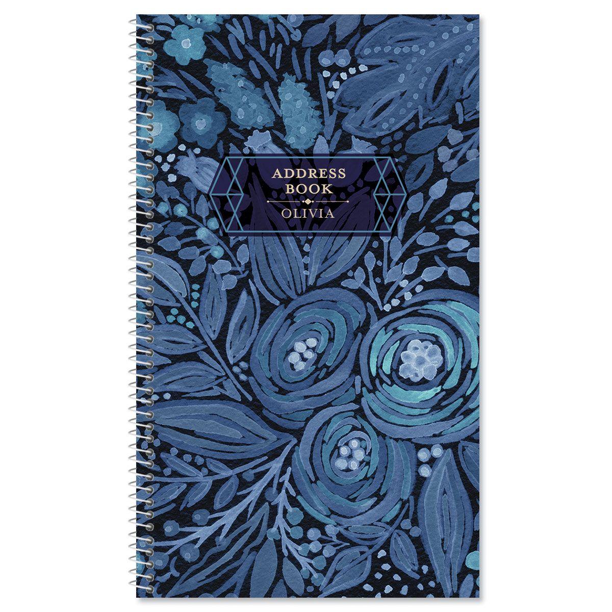 Navy Blossoms Lifetime Address Book
