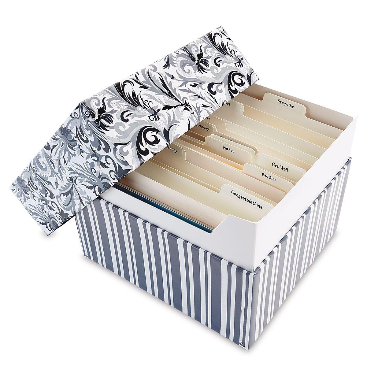 Black Elegance Greeting Card Organizer Box and Labels