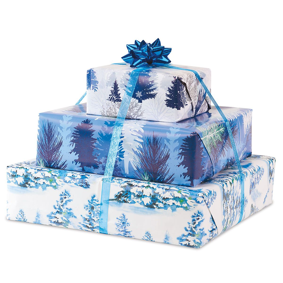 Snowy Trees Flat Gift Wrap Sheets - Buy 1 Get 1 Free