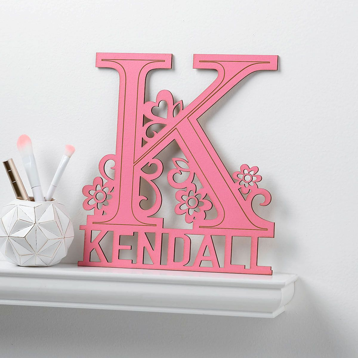 Custom Pink Name & Initial Plaque