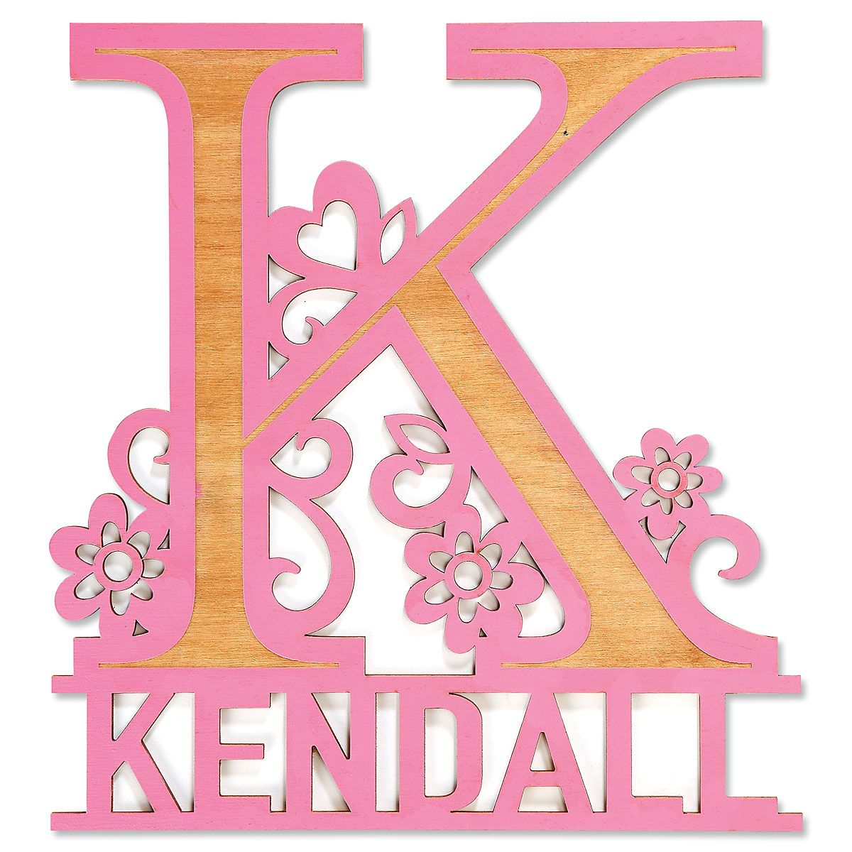 Custom Pink Name & Initial Plaque