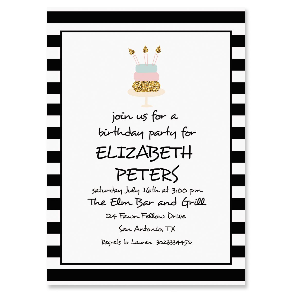 Custom Stripes with Cake Invitations
