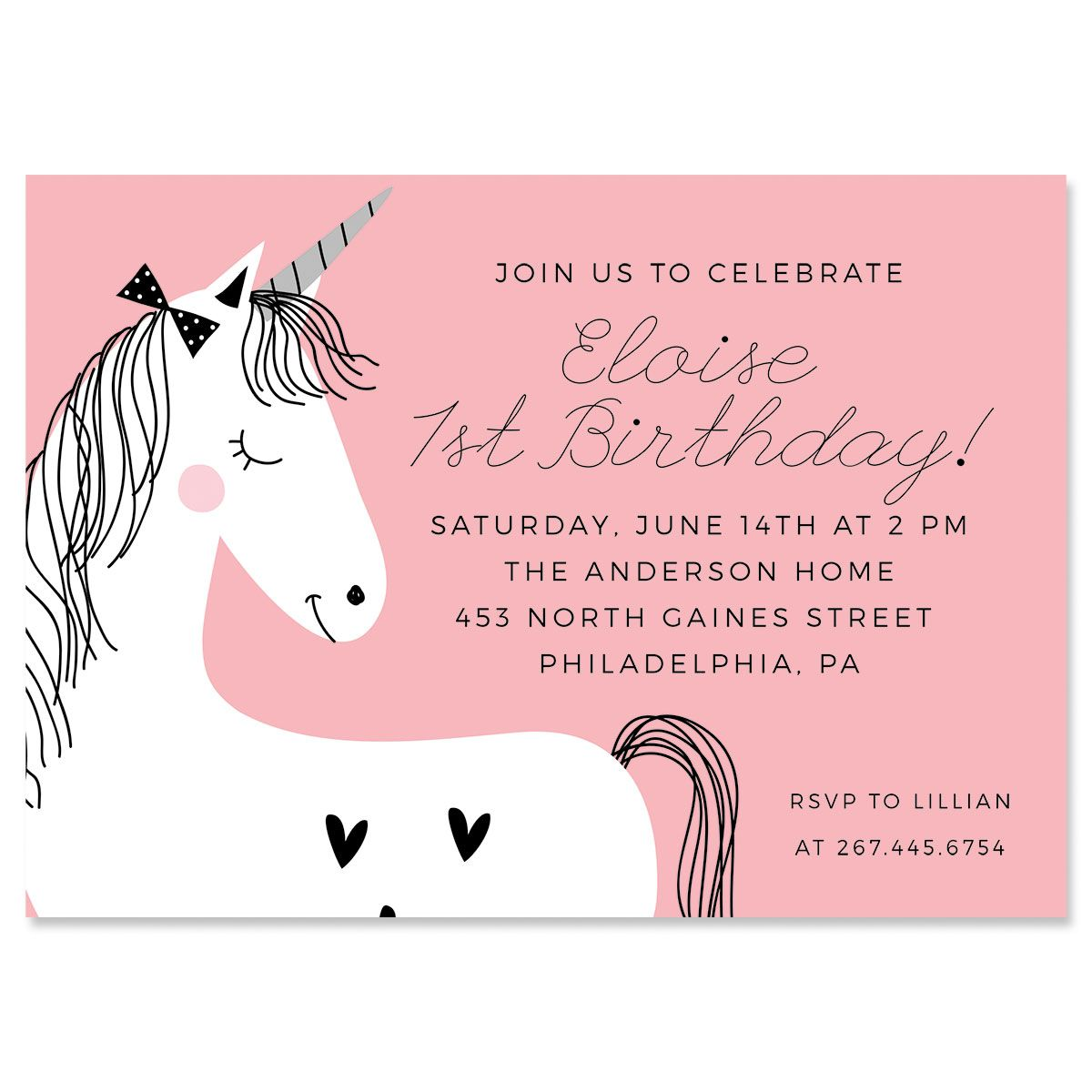 Custom Simple Unicorn Birthday Invitations