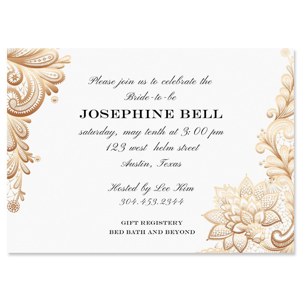 Custom Gold Lace Invitations