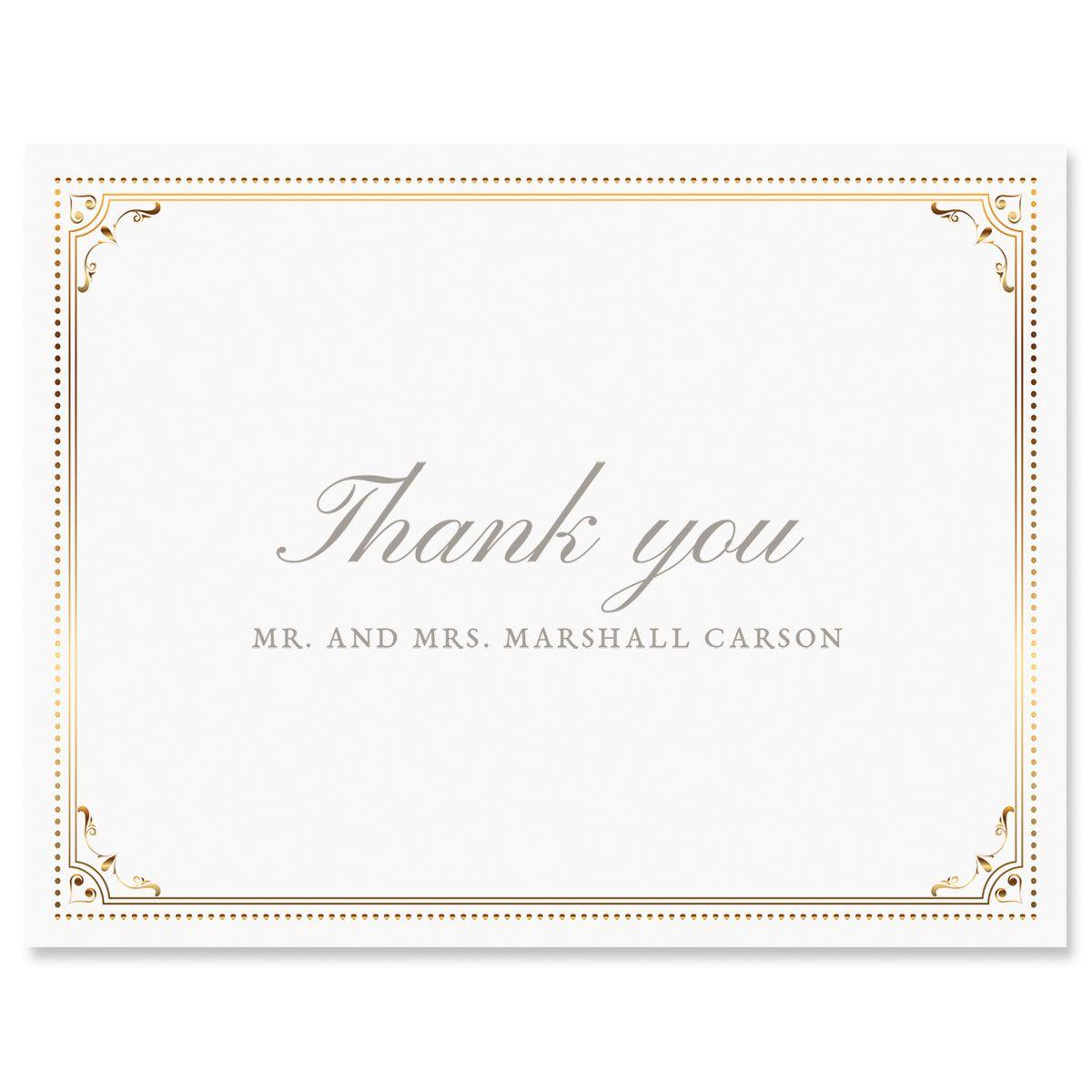 Custom Gold Frame Thank You Cards