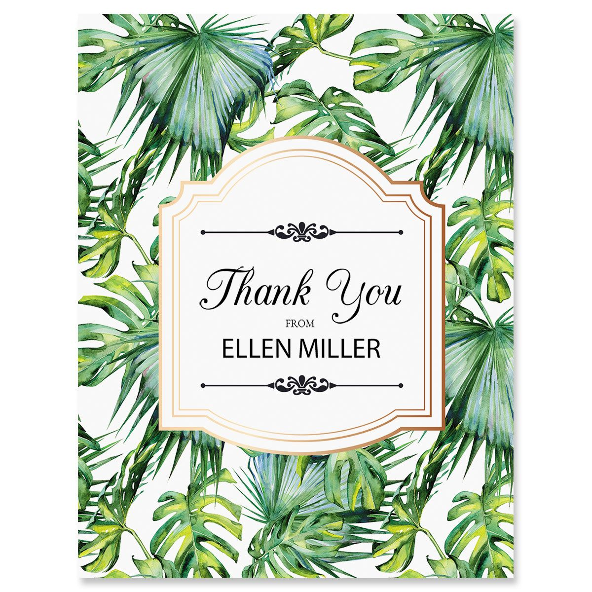 Custom Palm & Gold Thank You Cards