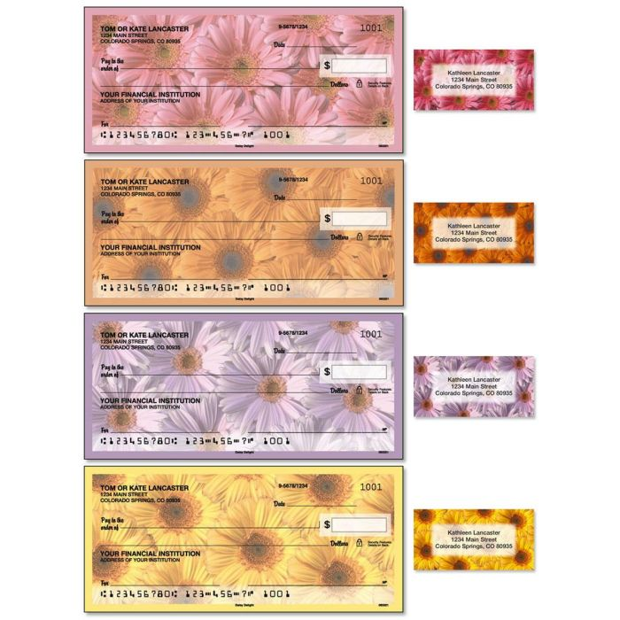 Daisy Delight Single Checks with Matching Address Labels