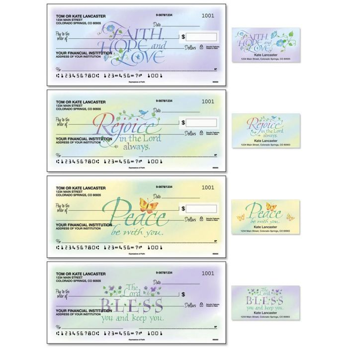 Expressions of Faith Single Checks with Matching Address Labels