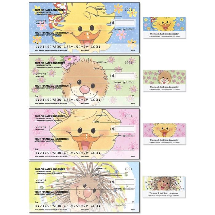 Suzy's Zoo Single Checks with Matching Address Labels