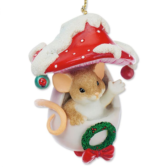 Mouse in a Mushroom Ornament by Charming Tails®