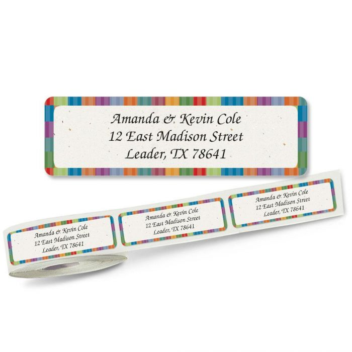 Bright Stripes Rolled Return Address Labels